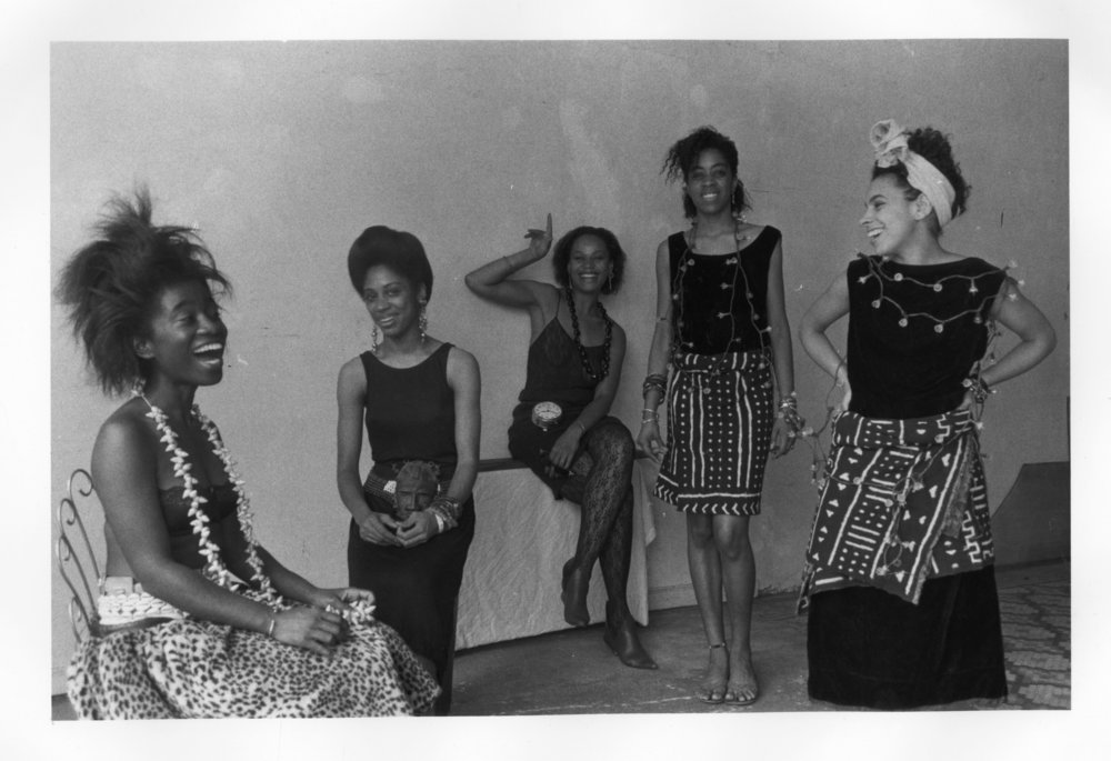 1) Lorna Simpson - Rodeo Caldonia (Left to Right: Alva Rogers, Sandye Wilson, Candace Hamilton, Denn Young,Lisa Jones) 1986. Photographic print 8 x 10 inches.