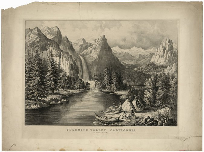 An 1866 Currier & Ives lithograph depicting Native Americans in Yosemite, with Bridalveil Fall in the background. CreditCurrier & Ives, via Library of Congress