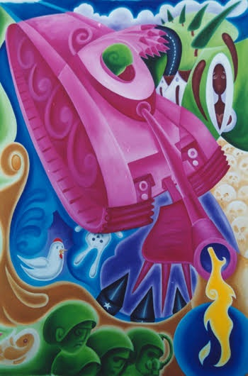 2005, The Pink Tank, size 150cm x 100cm acrylic on canvas $5200 .jpg