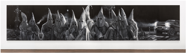 Vincent Valdez,  The City I , 2015–16, Oil on canvas, Four panels, 74 x 360 in. Blanton Museum of Art, The University of Texas at Austin, Purchase through the generosity of Guillermo C. Nicolas and James C. Foster in honor of Jeanne and Michael Klein, with additional support from Jeanne and Michael Klein and Ellen Susman in honor of Jeanne and Michael Klein, 2017 ©Vincent Valdez