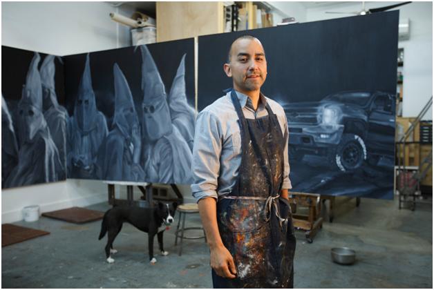 Vincent Valdez in his studio, 2016. ©Michael Stravato