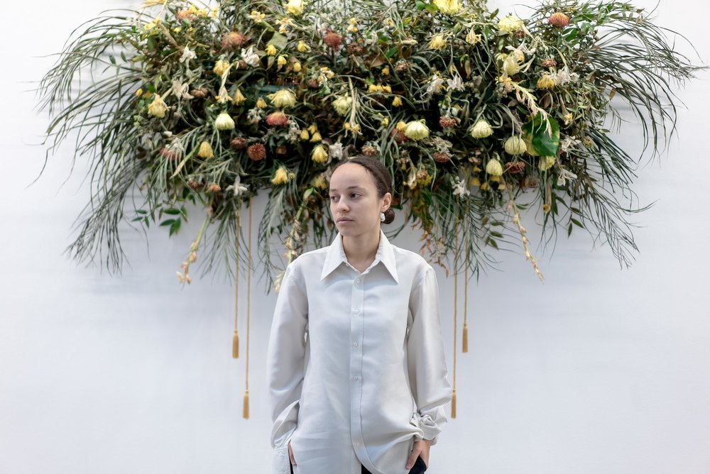 """The designer Grace Wales Bonner at the Serpentine Sackler Gallery in London, where her exhibition """"A Time for New Dreams"""" is on display.Credit Andrew Testa for The New York Times"""