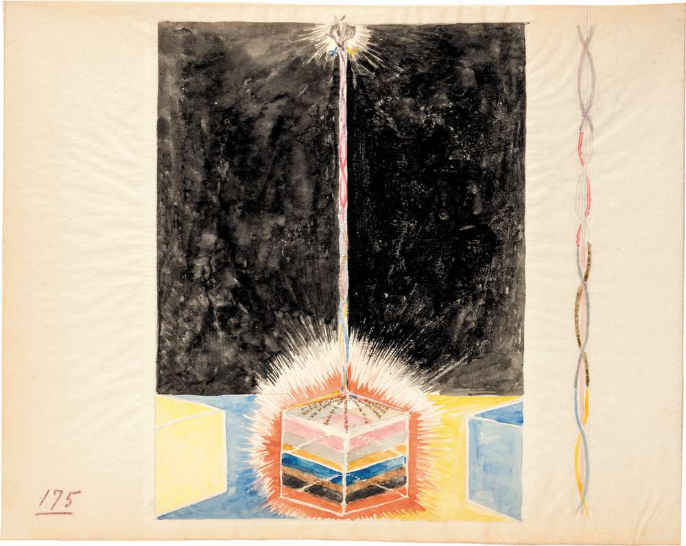 Moderna Museet, Stockholm - A notebook page showing a watercolor version of one of Hilma af Klint's  Paintings for the Temple , circa 1914–1915; from Christine Burgin's  Hilma af Klint: Notes and Methods
