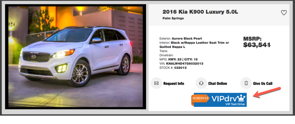 VIP Test Drive Tool - VIPdrv is a whole new way for car dealers to offer test drive scheduling from their dealer websites.  VIPdrv creates the best online customer experience, leading to a great dealership visit and sale of a vehicle.  Please contact us today to learn more.