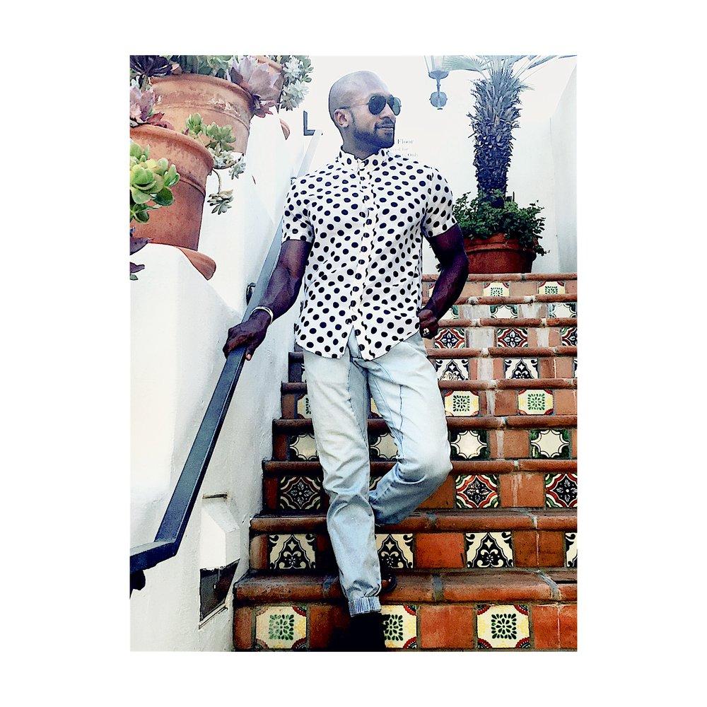 B & W polka dot shirt