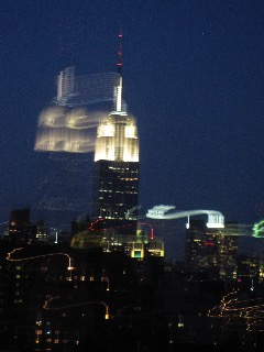 Trailed lights of the empire state building, NY