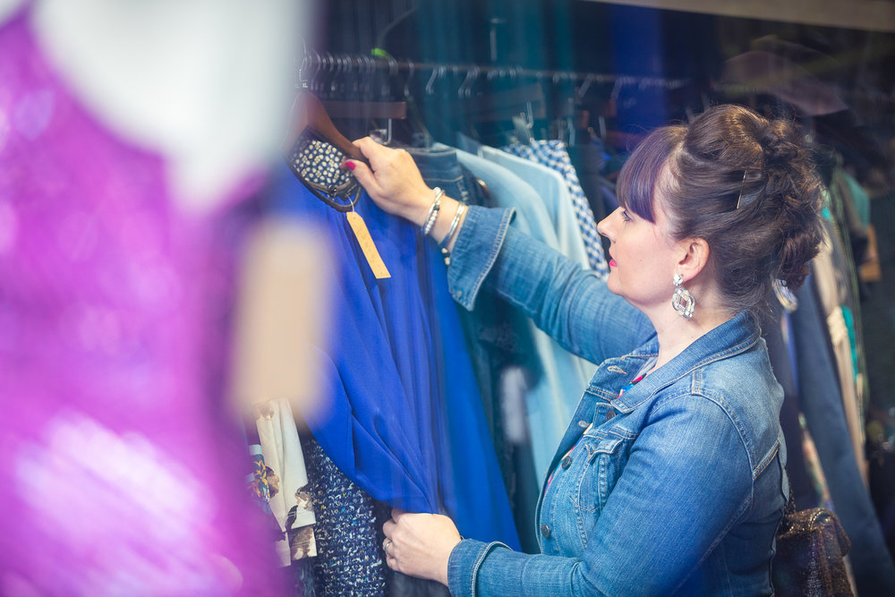Becky Barnes personal stylist shopping in a charity shop in Bristol
