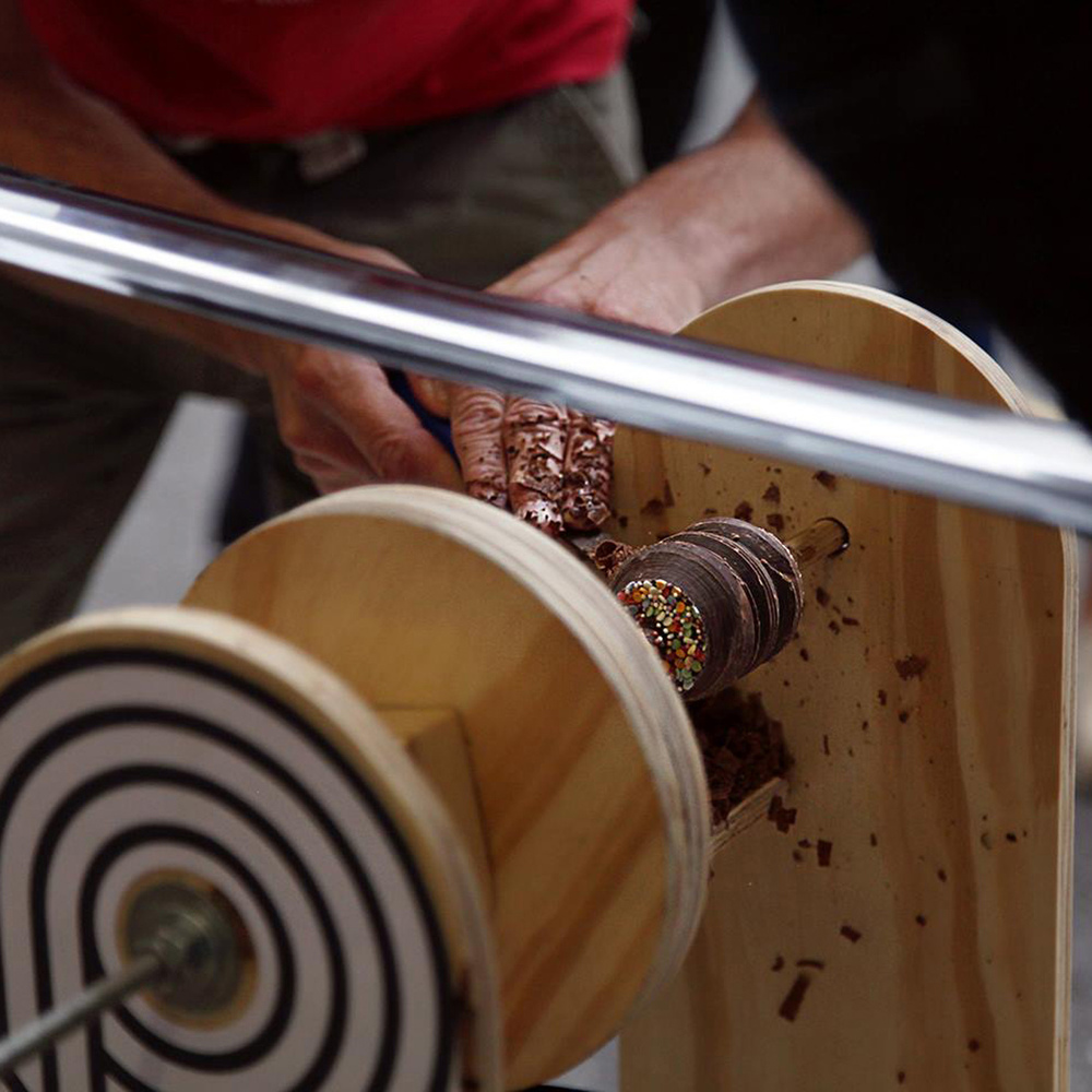 Bicycle powered chocolate lollipop lathe
