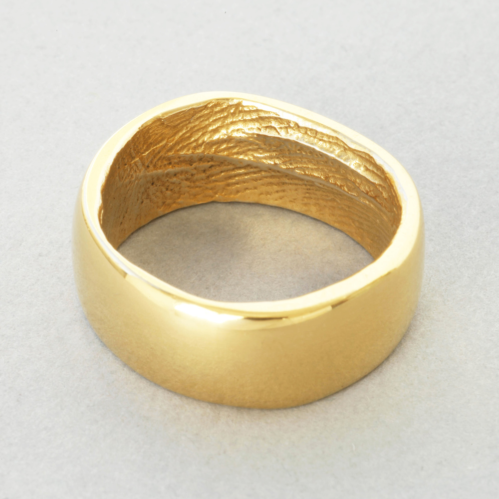 You & Me wedding ring, yellow gold, broad width, polished finish.