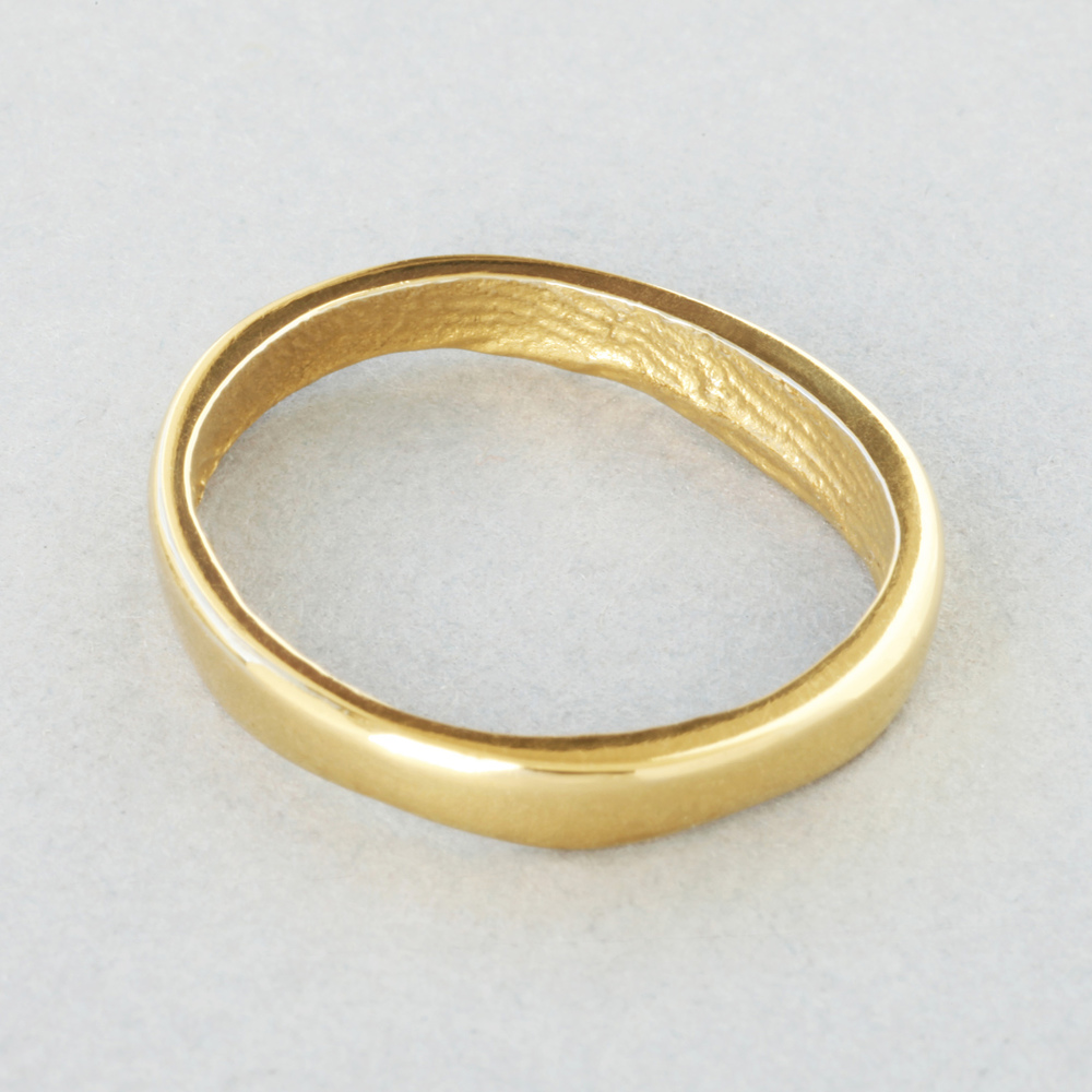 You & Me wedding ring, yellow gold, slender width, polished finish.