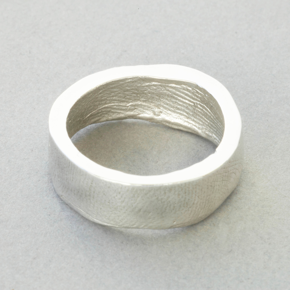 You & Me wedding ring, silver, broad width, buffed finish.
