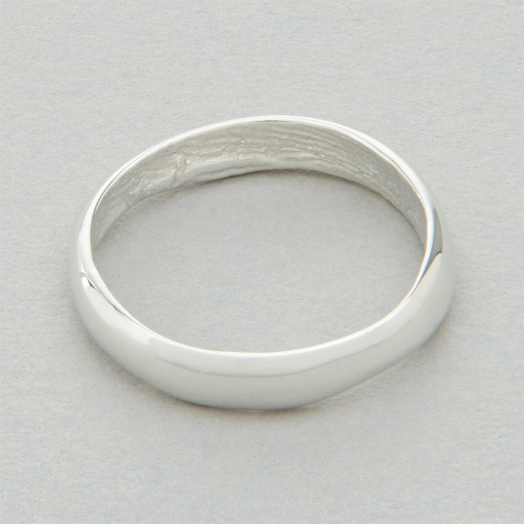 You & Me wedding ring, platinum, slender width, polished finish.