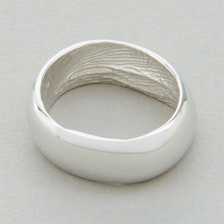 You & Me wedding ring, platinum, broad width, polished finish.