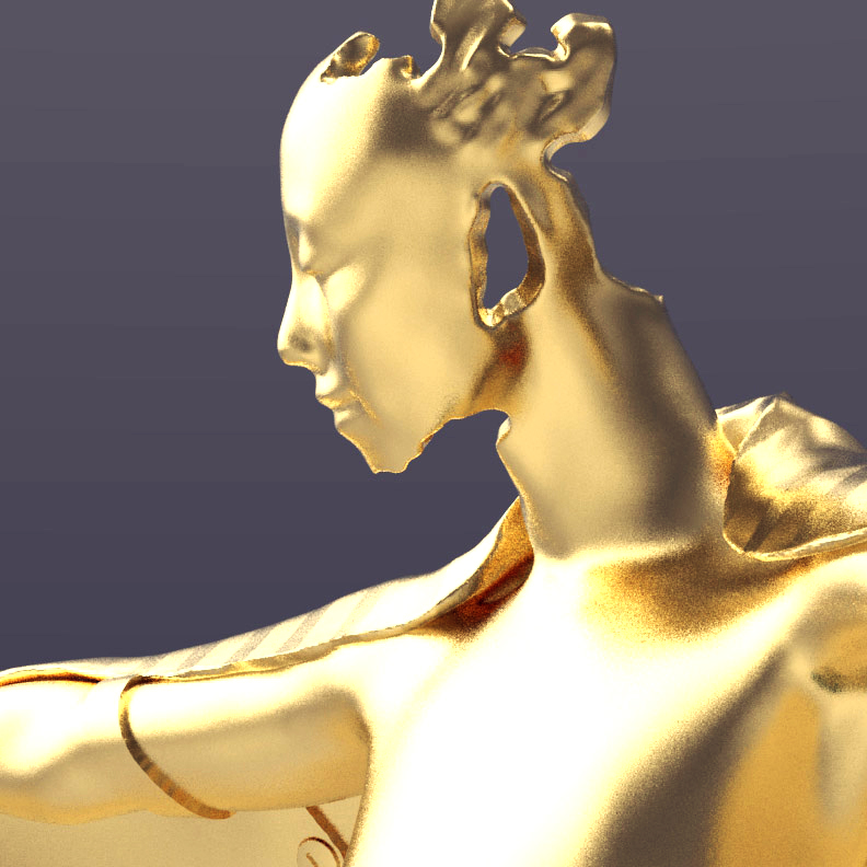 Gold winged figure trophy design, face