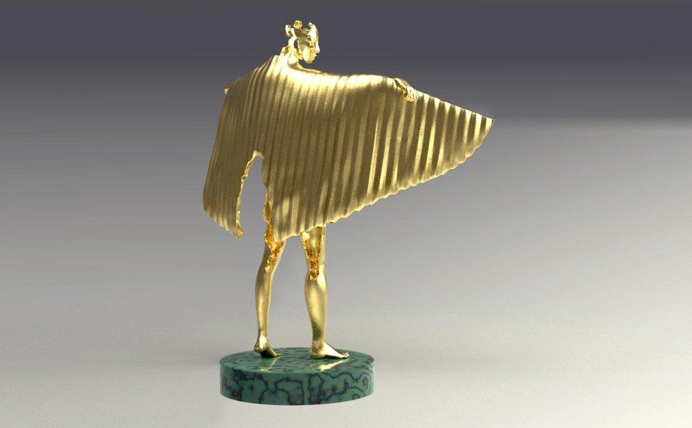 Gold winged figure trophy design, back