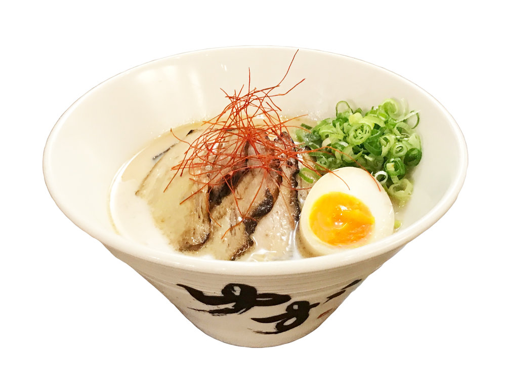 Tonkotsu $15  Pork Bone Broth / Noodles: Thin ramen noodles  Topped with: chashu, kikurage, green onions, a thinly sliced lemon, soy marinated soft boiled egg, shredded chili pepper  Contains: egg, soy sauce, mushroom, pork / noodles contain: egg white, wheat