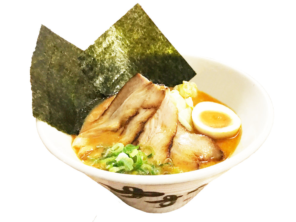 Miso $15  Pork Bone Broth with Japanese Miso / Noodles: Thick ramen noodles Topped with: chashu, cabbage, green onion, soy marinated soft boiled egg, seaweed  Contains: egg, soy sauce, pork, sesame, garlic / noodles contain: wheat
