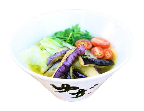 NEW & IMPROVED!      Veggie $14.95  No MSG. Non-GMO. No Preservatives. No Artificial coloring. No Antibiotics.   Organic Vegetable & Kombu Dashi Broth with GF Soy Sauce Noodles: Thick ramen noodles Topped with: steamed cabbage, arugula, cherry tomatoes, fried eggplant.  Contains: gluten-free soy sauce / noodles contain: wheat