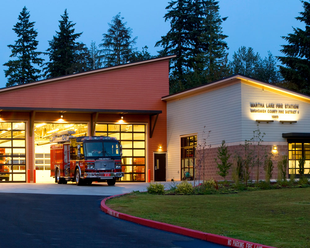 Snohomish County Martha Lake Fire Station 21 by Seattle Fire Station Design Expert TCA Architecture