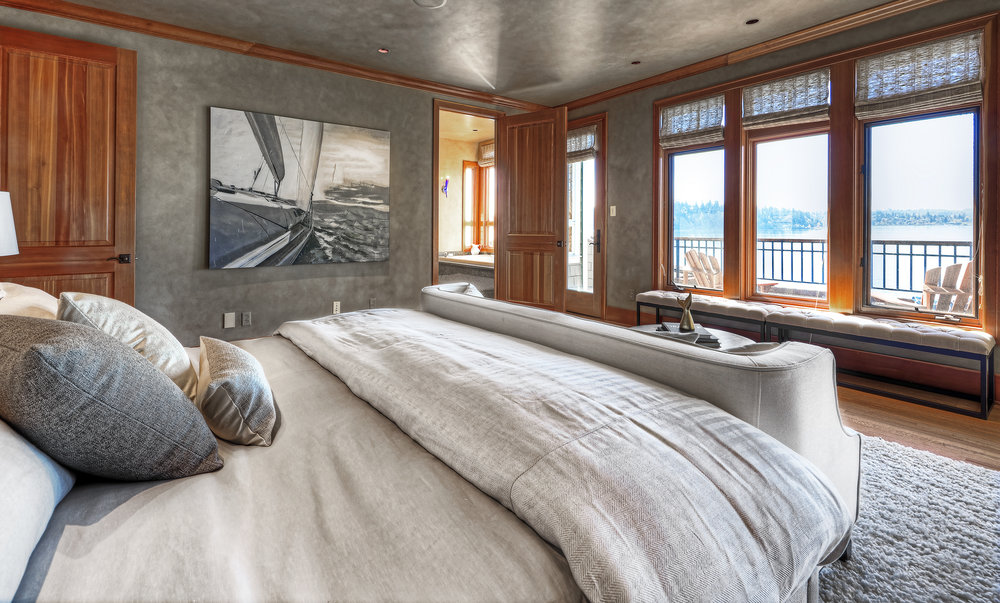 Photo of Master Bedroom in PNW home designed by a Seattle Residential Architect