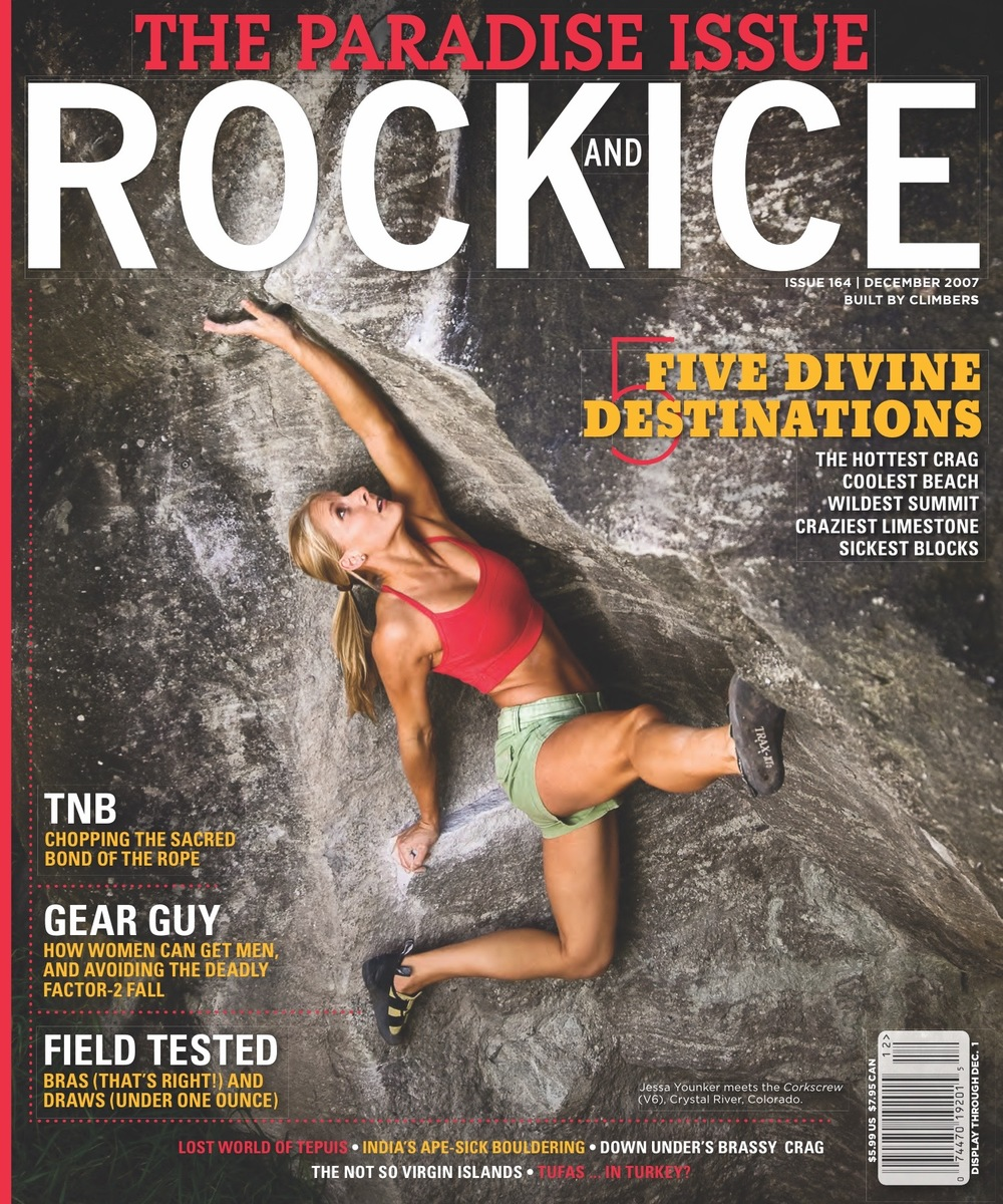 The Montana Girls Voyeurism on El Capitan.  Brassiere Bazaar A sports bra review.  Rock and Ice, December 2007