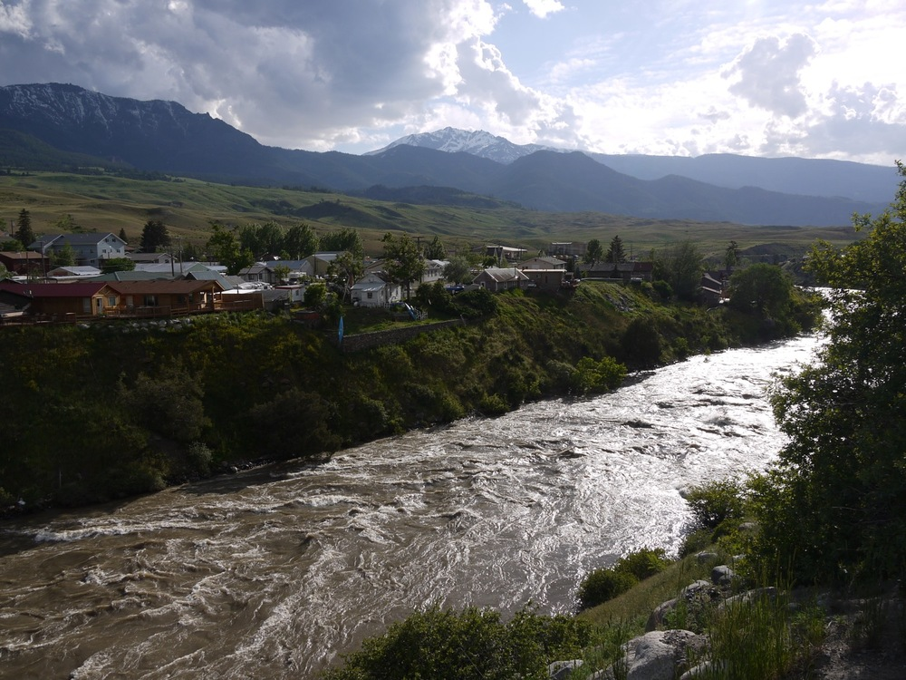 The Yellowstone River flows through Gardiner at high water. Photo by Emily Stifler Wolfe