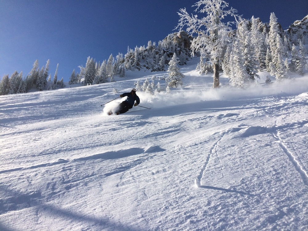 Pat Wolfe swoops up the early season powder at Bridger Bowl. (Photo by Emily Stifler Wolfe)