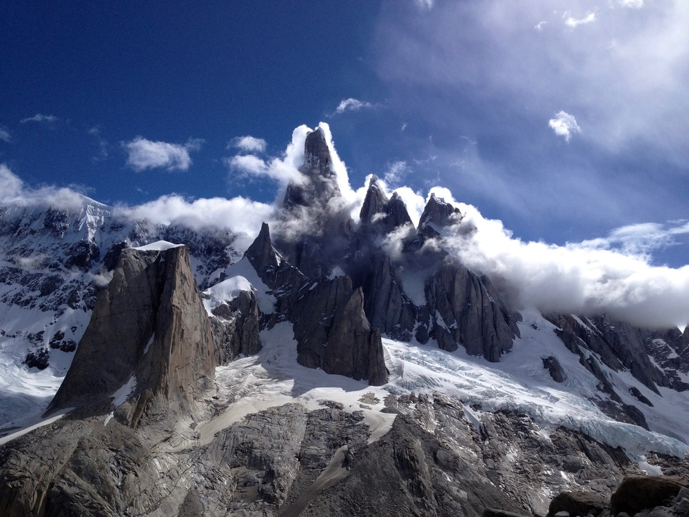 Clouds move over the Cerro Torre group, Patagonia, Argentina. (Photo by Emily Stifler Wolfe)