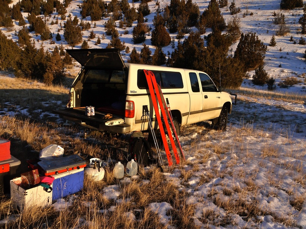 Skis, check. Truck, check. Dinner, check. The golden hour in Montana's Snowcrest Mountains. (Photo by Emily Stifler Wolfe)
