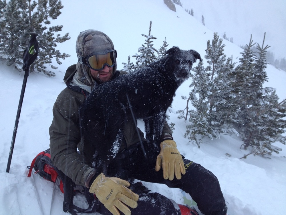 Pat Wolfe and Boots the dog. Cooke City, Montana. (Photo by Emily Stifler Wolfe)