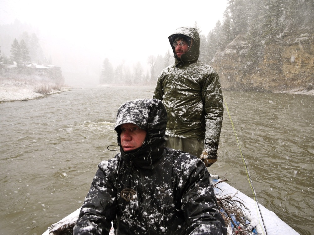 Joe Josephson and Pat Wolfe experience classic weather on the Smith River, Montana. (Photo by Emily Stifler Wolfe)