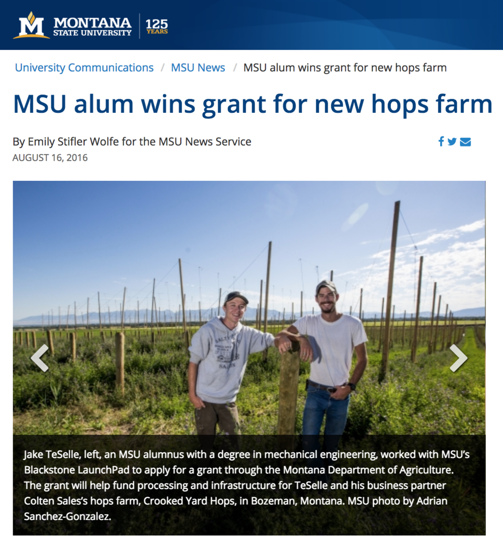 Press Releases    I wrote press releases for Montana State University, one of which was picked up by the Bozeman Daily Chronicle. Another was reprinted in MSU's Jake Jabs College of Business & Entrepreneurship's Annual Report.   Alum wins grant for new hops farm   Student-built product helps dementia patients   Rydell awarded for excellence in American Studies   MSU research may help families afford childcare   Prof. Brown to speak on transformational leadership    Montana State University
