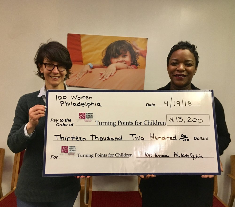 Elizabeth Zack, Founder of 100 Women Philadelphia, with Dawn Holden Woods, Executive Director of Turning Points for Children