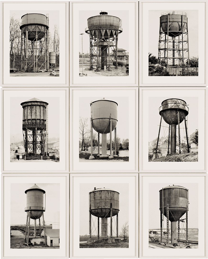 Bernd and Hilla Becher, Water Towers, 1968-1980.png