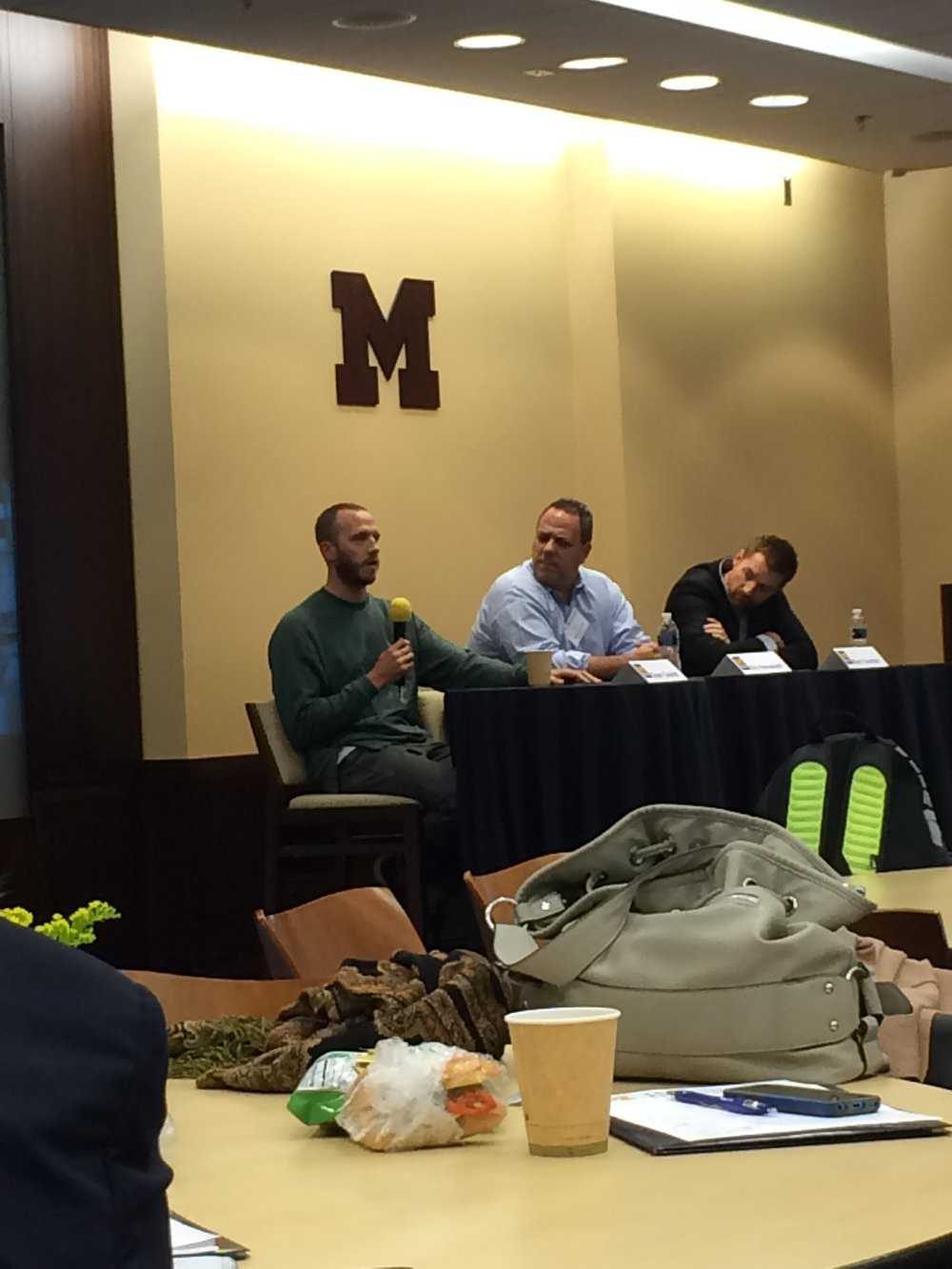 Grant Goulet, an MiPR collaborator, speaking on the Optimal Performance and Sport Technology industry panel.