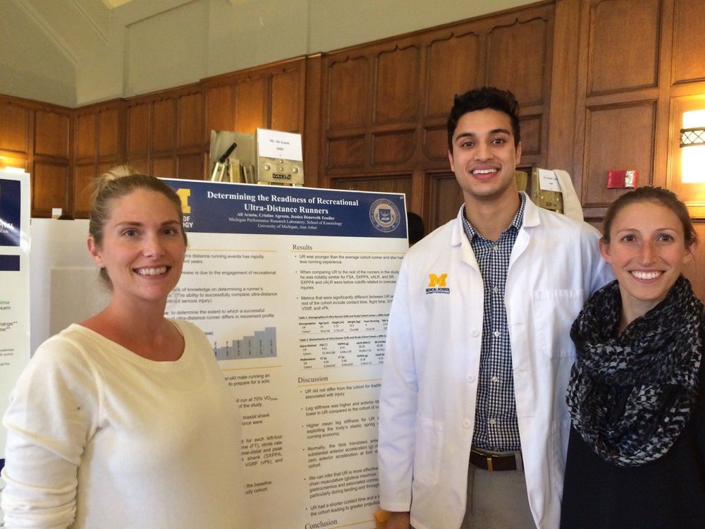Ali Arastu with mentors, Dr. Cristine Agresta (left) and Dr. Jessica Zendler (right), at the SBRP Fall Research Forum at the Michigan League on Monday, November 7, 2016.