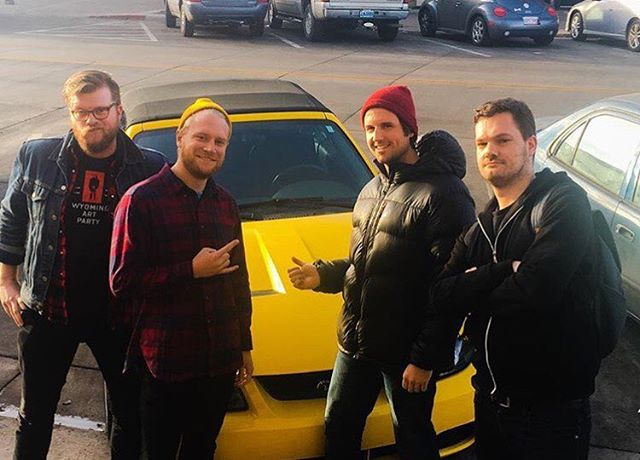 Wow thanks for all your support with the indiegogo so far, you're pre-orders are filling us with joy. Here's (some of) us with Collin. Collin recorded us, and plays some auxiliary percussion on the record. This is the car he promised to buy us when he makes it big. Thanks Collin!