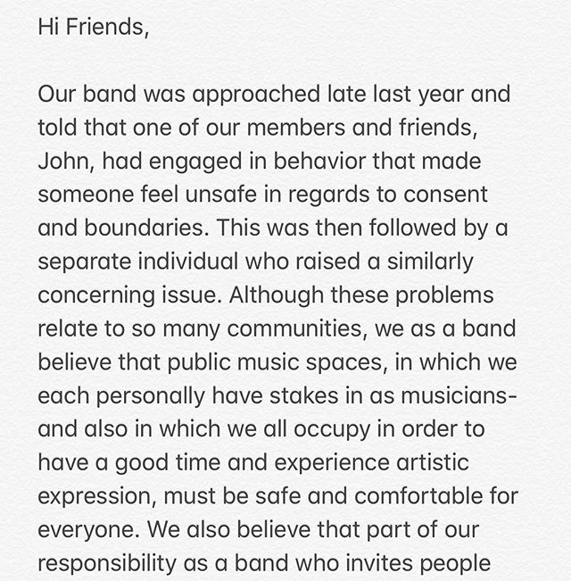 A letter from the band, check the link in the bio to access the document In Our Hands about community accountability.