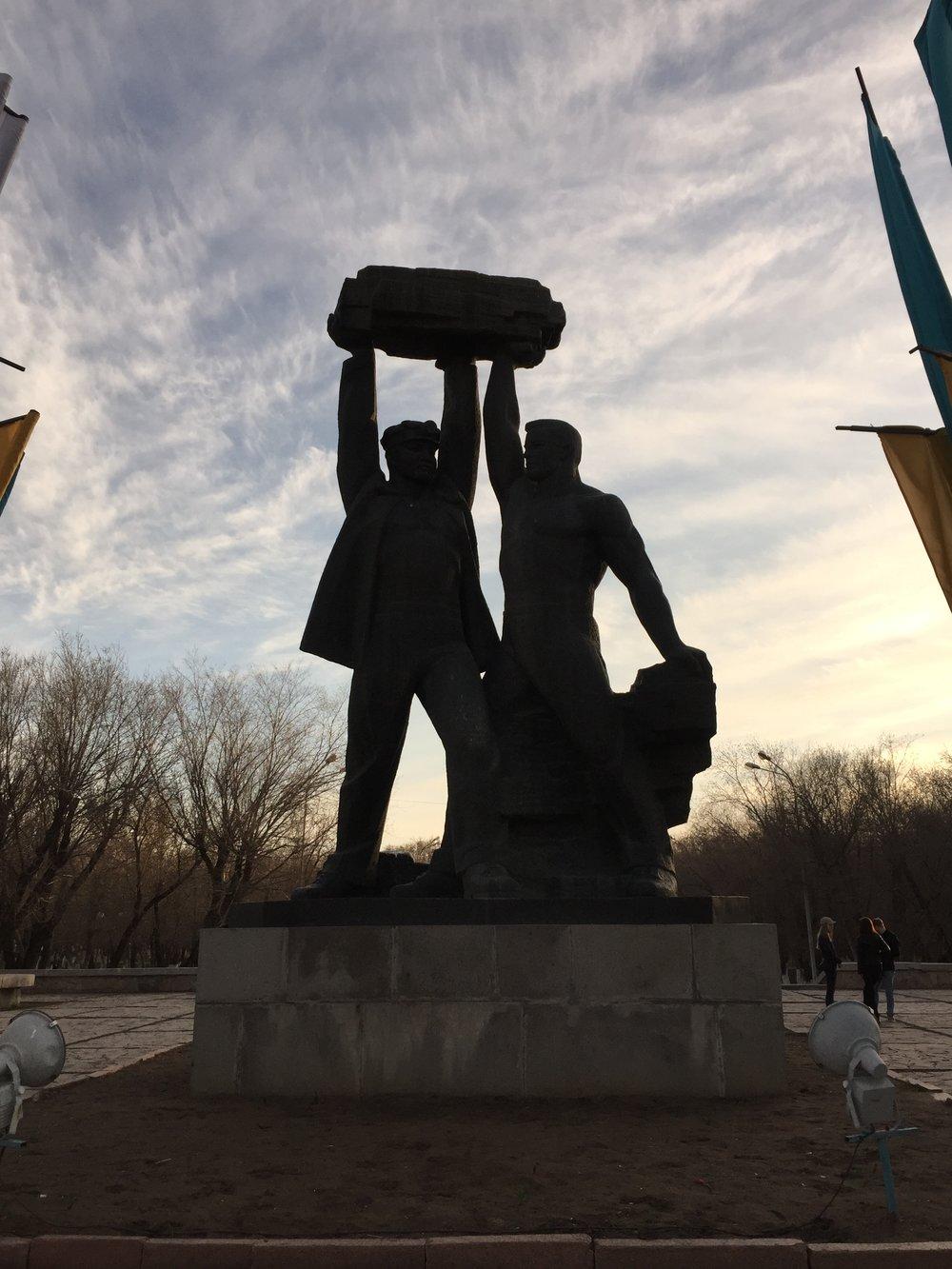 Famous statue in Karanganda, represents unity between Russia & Kazakhstan