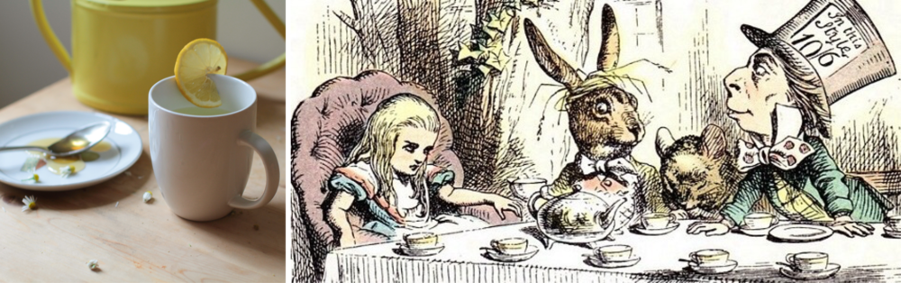 Right:  Mad Tea Party , a tinted version of one of Sir John Tenniel's original illustrations for Lewis Carroll's novel  Alice's Adventures in Wonderland  (1865). See more of his amazing illustrations for the book  here .