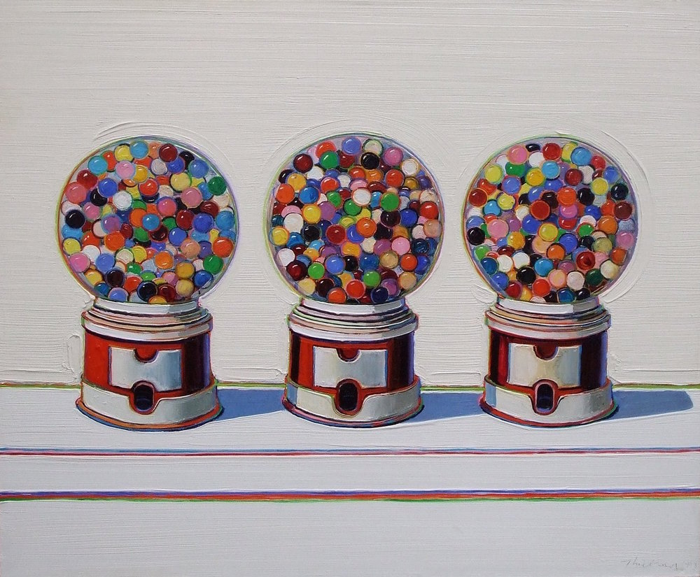 Wayne Thiebaud,  Three Machines  (1963), oil on canvas 30 x 36 1/2 in