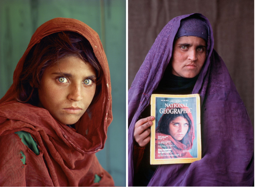Left:  Afghan Girl , a photograph of Sharbat Gula shot by Steve McCurry, published on the cover of National Geographic in 1985 Right: Sharbat Gula when found again by Steve McCurry and a National Geographic crew in 2002, photography by Steve McCurry