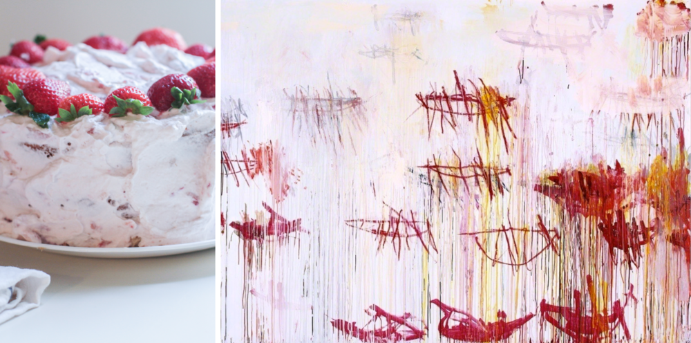 Right: portion of  Lepanto , Panel 9 of 12, 2001, Cy Twombly (full canvas below)