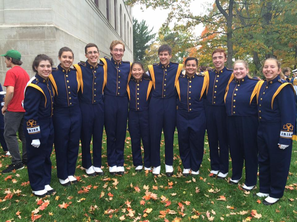 Andrew Copp (5th from Right) and the rest of the Notre Dame Marching Band Freshmen Clarinet Members
