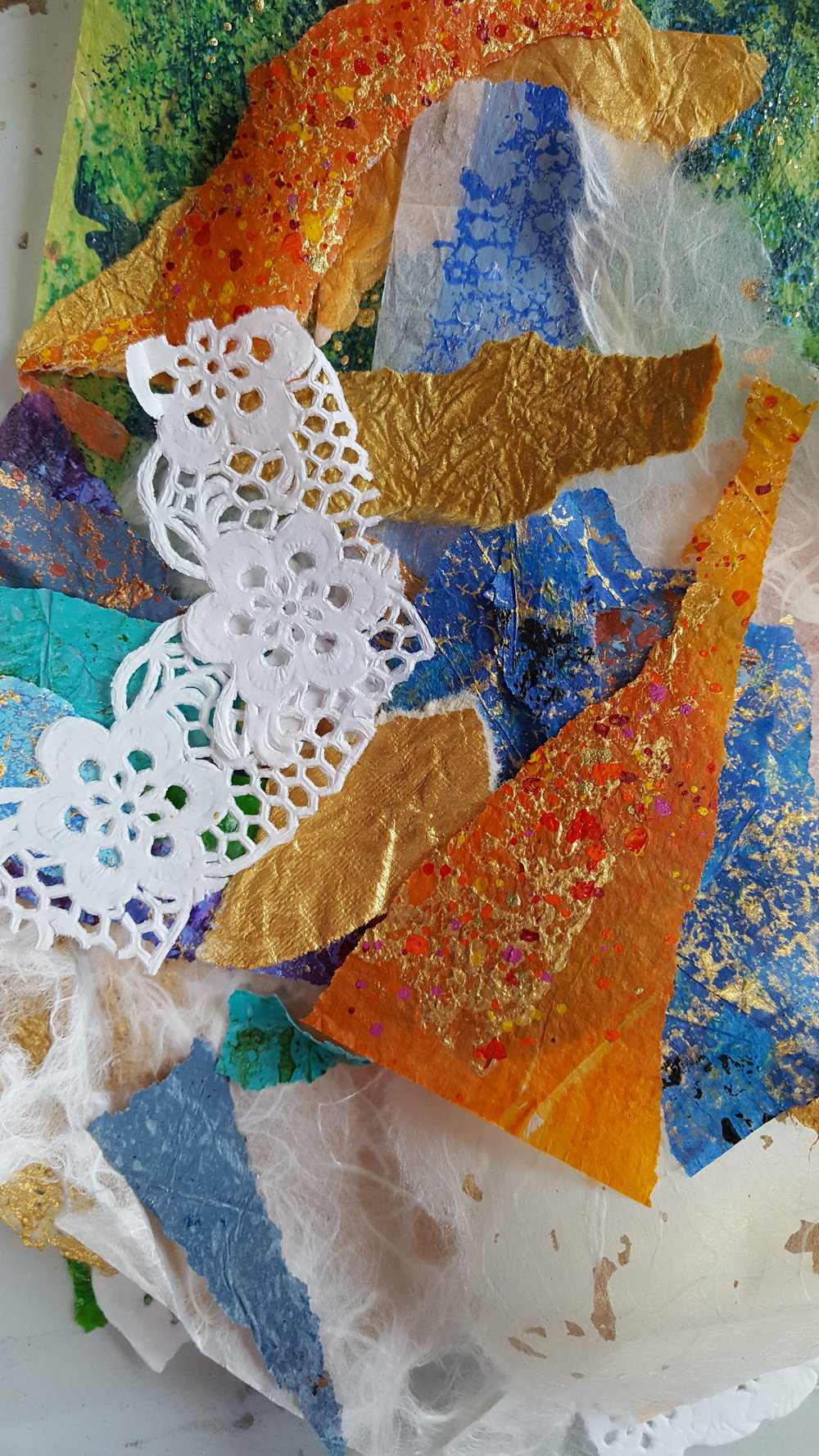 Some pre-painted collage paper (tissue) and mulberry silk tissue, and paper lace.