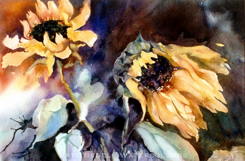 Sunflowers, Wild and Wonderful (Watercolour 15 x 19 inches.  Water Colour Society of Ireland's permanent collection in the University of Limerick, Ireland