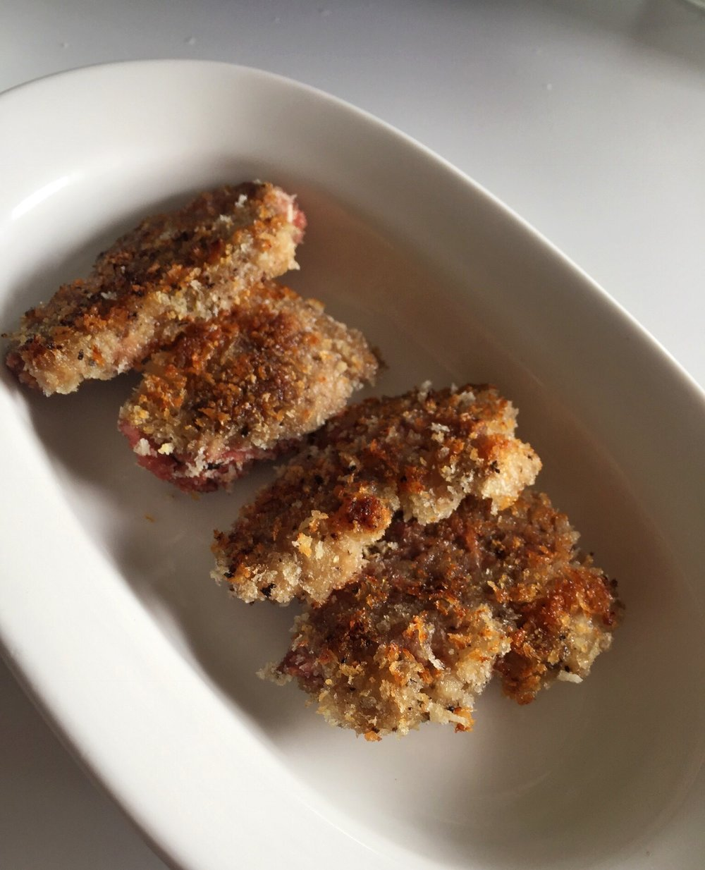 pan seared Panko-crusted moulard duck breast medallions