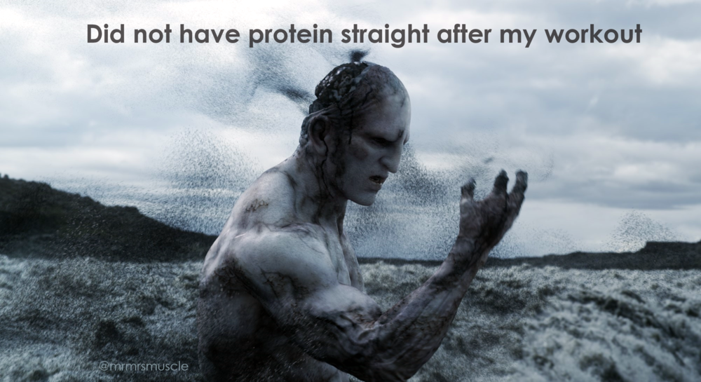 The belief that your muscles will waste away if you do not have a protein straight after your work out is wrong.