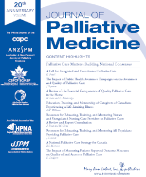 "Online Now! - A PCM special issue of the Journal of Palliative Medicine, entitled ""Palliative Care Matters: Building a National Consensus, is now published online. The issue contains twelve papers in three broad categories related to the PCM project: 1. an introduction to public opinion and a consensus development conference;2. methods on conducting the PCM's scientific review and the evaluation of the PCM project; and 3. peer-reviewed academic versions of the scientific expert panelists' findings and evidence.Click here to view."