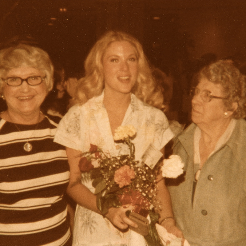 KAREN WITH her proud mother and grandmother <circa 1976>